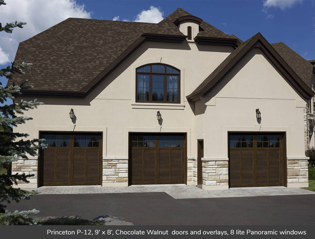 Princeton P-12, 9' x 8', Chocolate Walnut doors and overlays, 8 lite Panoramic windows