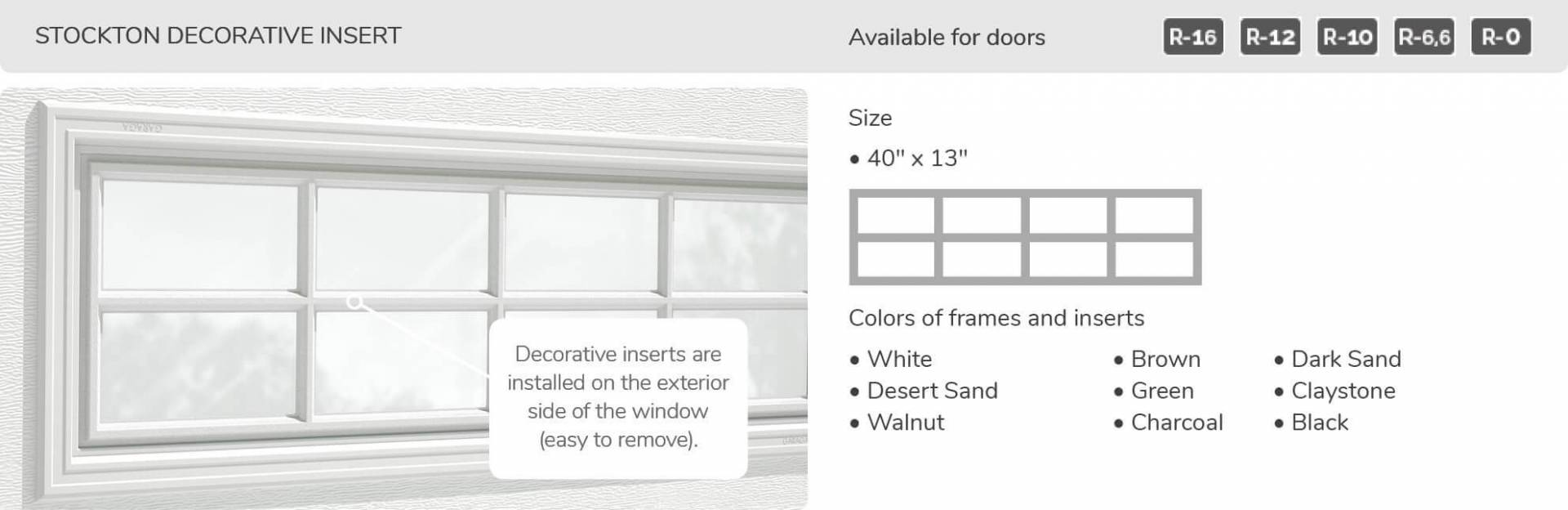 "Stockton Decorative Insert, 40"" x 13"", available for doors R-16, R-12, R-10, R-6.6, R-0"